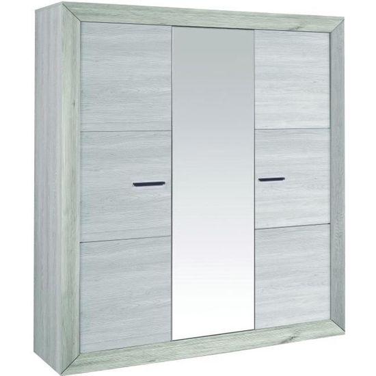 NEVA Armoire de chambre style contemporain décor gris clair - L 200 ...