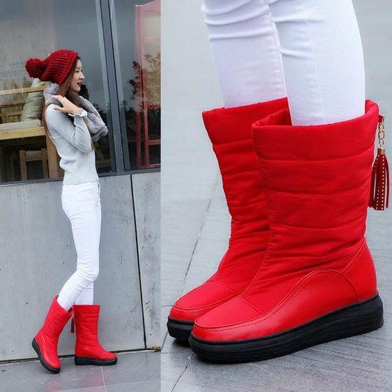 Hautes Neige Chaussures Talons Chaudes Femmes Coton Plat Genou De Bottes D'hiver n0OwvNm8
