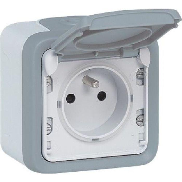 LEGRAND Prise 2P+T avec éclips de protection complet 16 AX Plexo gris