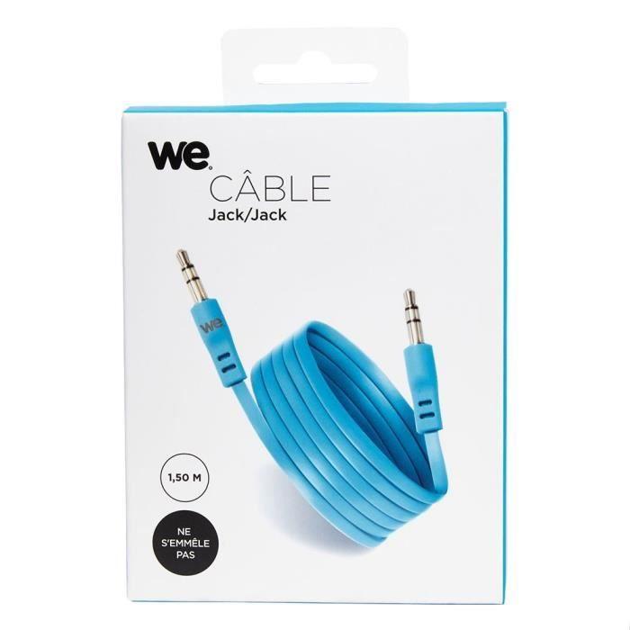 WE Câble jack plat - 1.50 mètres - Bleu