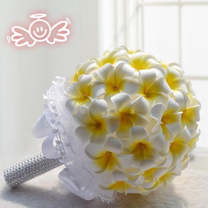 20cm Plumeria Blanc Jaune Clair Bouquet De Fleur Boule De Rose