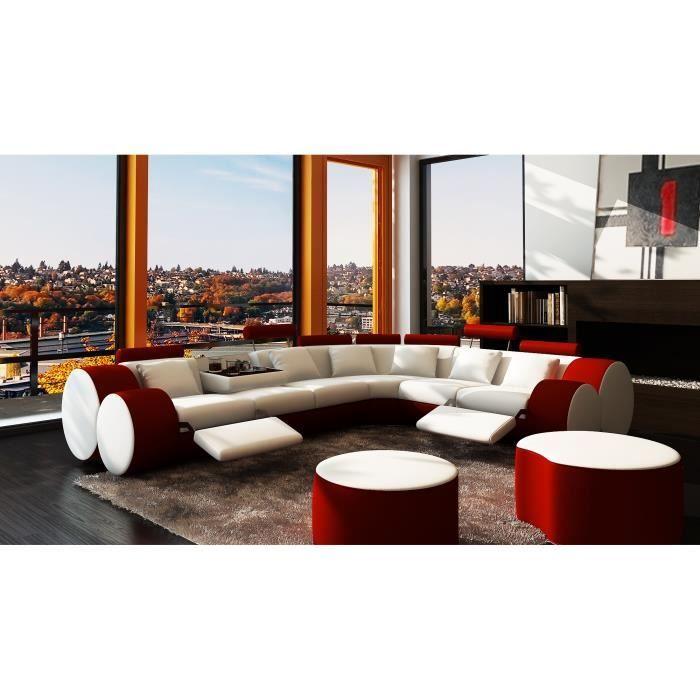 Canapé Dangle Design Cuir Blanc Et Rouge Relax ROMA Achat - Canapé design cuir