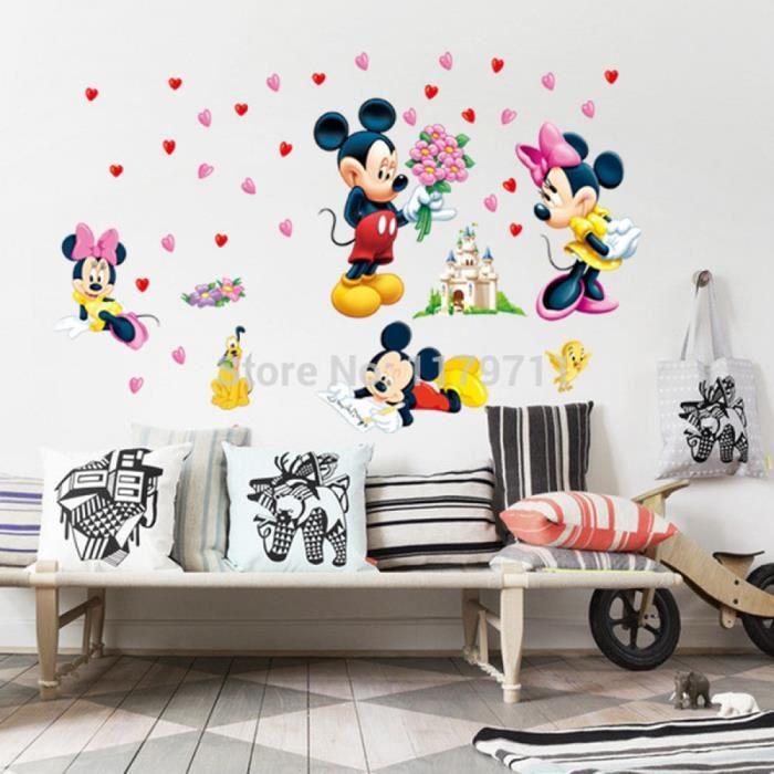 Perfect mickey et minnie autocollant mural enfants chambre for Autocollant mural ikea