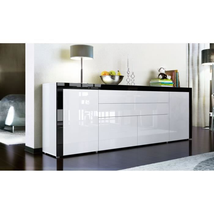 buffet enfilade blanc et contours noirs 200 x 35 x 72 cm achat vente buffet bahut buffet. Black Bedroom Furniture Sets. Home Design Ideas
