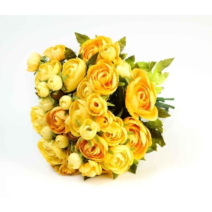 Bouquet De Renoncules 18 Fleurs Artificielles Jaune 30 Cm O 25