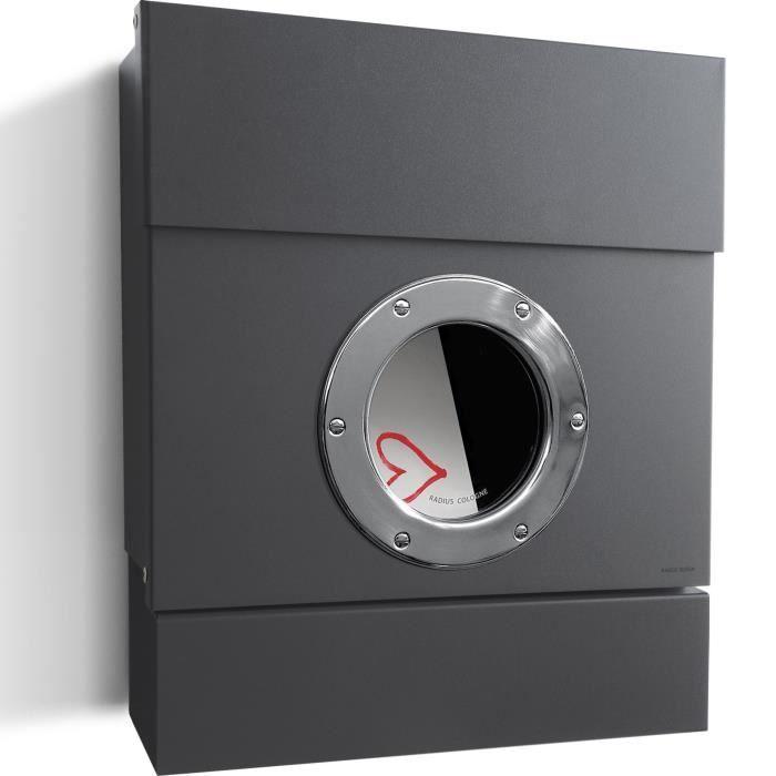 radius bo te aux lettres murale letterman 2 gris anthracite ral 7016 avec compartiment. Black Bedroom Furniture Sets. Home Design Ideas