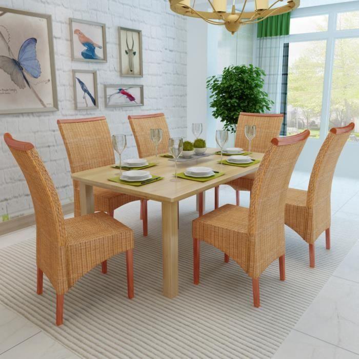 6pcs chaises salle manger ou cuisine en rotin tress es la main en bois de mangue massif for Salle a manger en rotin
