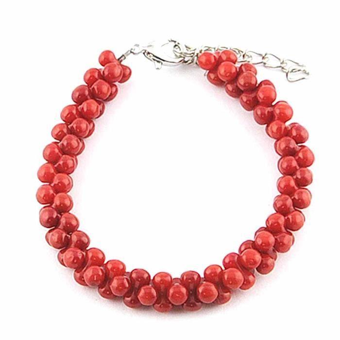 Bracelet pierres multiples Bijou fantaisie perle Femme Rouge Torsades perlées Nana