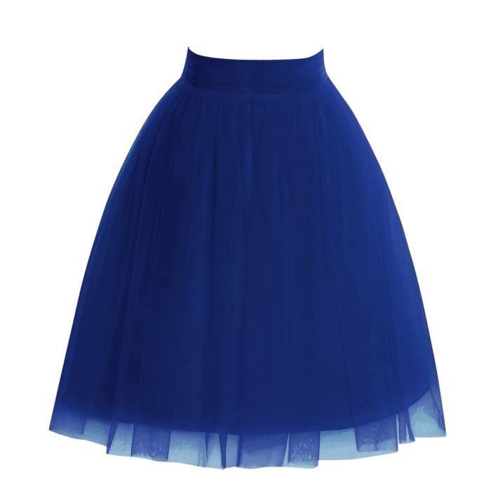 jupe tutu trap ze de bal mi longue en tulle bien bouffant 3 couches bleu roi uni pour femme. Black Bedroom Furniture Sets. Home Design Ideas
