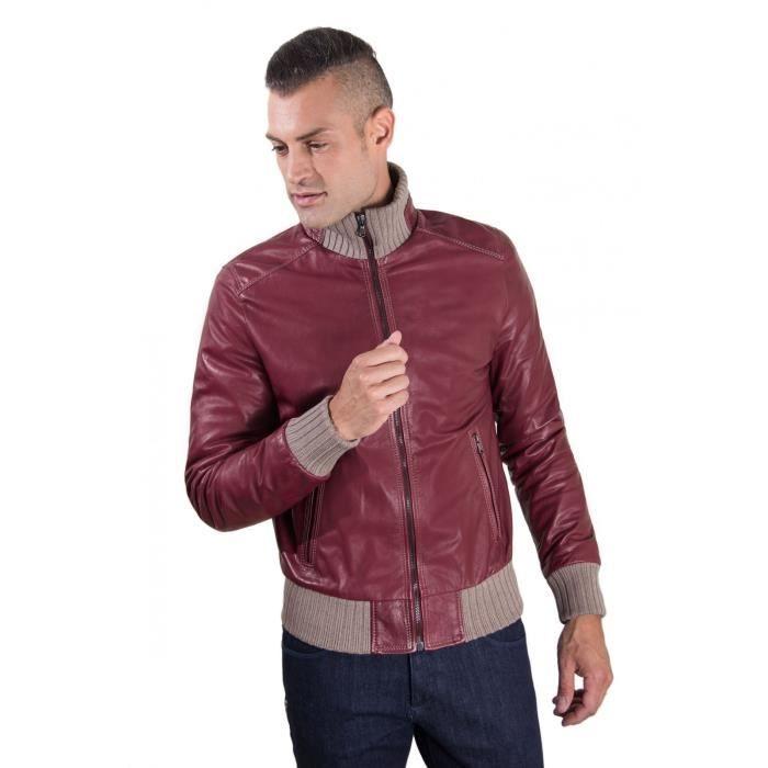BOMBER couleur bordeaux blouson cuir homme style bomber cuir aspect vintage  - Colore Bordeaux 52eb306396e3