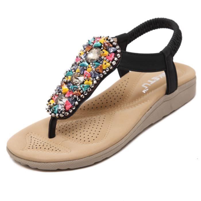 Sandales femme plat mode été nouveau perle romaine Bohème gPzXAN