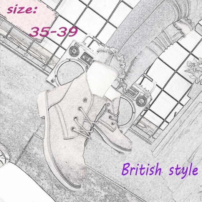 Bottes pour Mixtekaki 38 Populaire Nouveau style Chunky talon courtes à bout rond style britannique Martin Boot_40418
