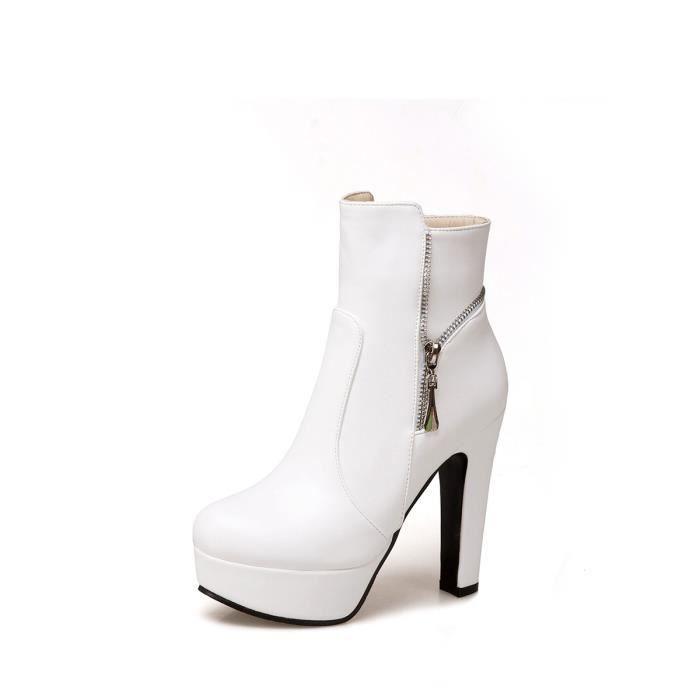 Bottes de cheville de femmes élégante couleur unie talon épais plate-forme de conception Zipper Chaussures élégantes 9110142
