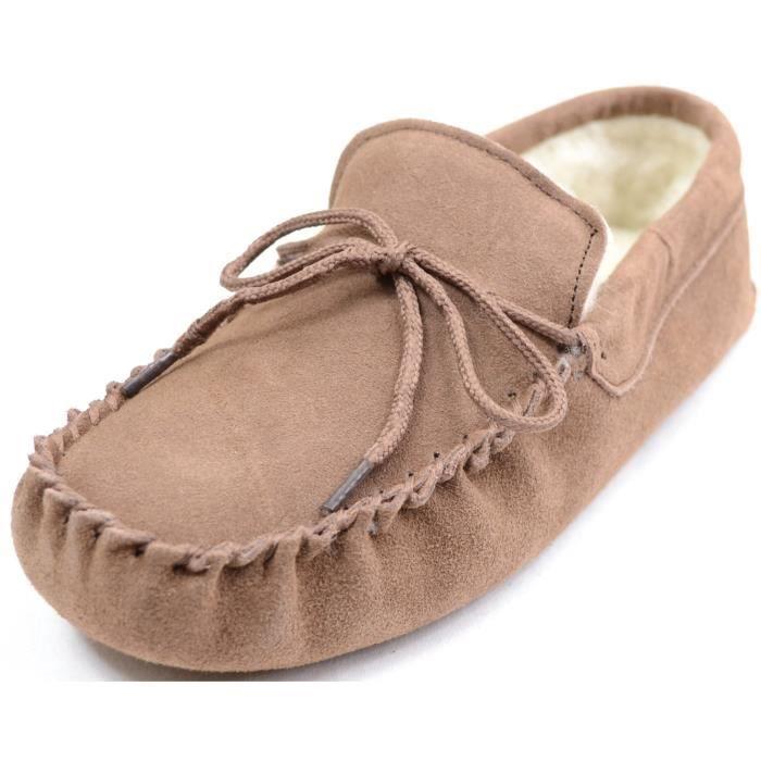 Femmes brun foncé Laine Bordée Mocassin pantoufles avec daim. USUWJ Taille-37
