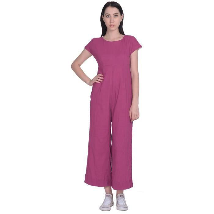 Womens Straight Cut Rayon Jumpsuit With Both Sides Pocket H1WZZ Taille-40