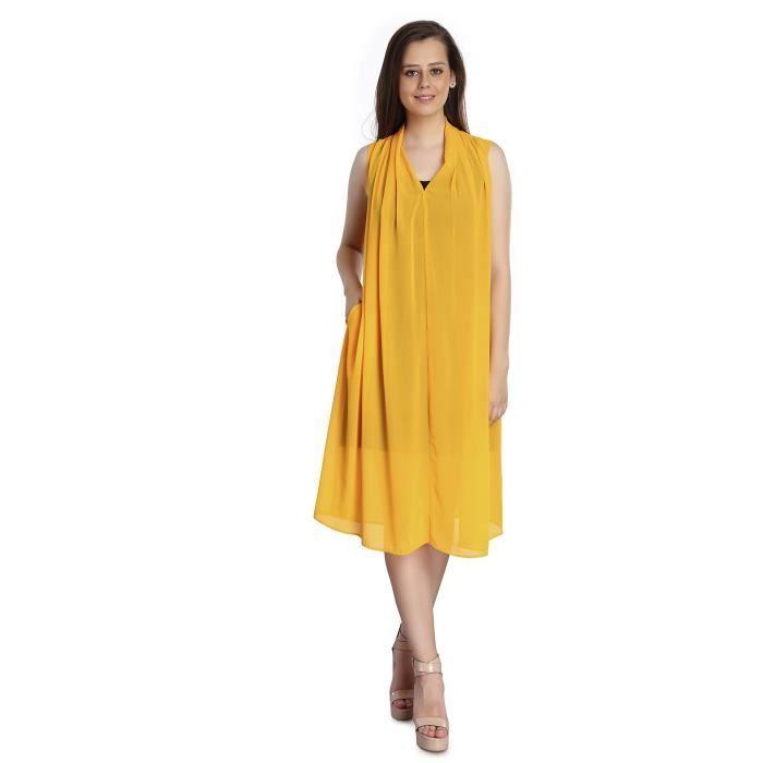 Femmes dupatta style polyester Georgette Robe 100% pur coton flammé jersey noir intérieur - Sup T881C Taille-38