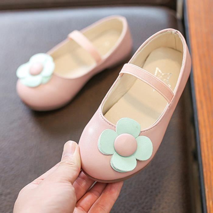 54ba0f6921cd8 exquisgift®Mode Fleur Sandales en cuir Princesse Chaussures simples Loisirs  pour Enfant Filles Rose SCH80308834PK