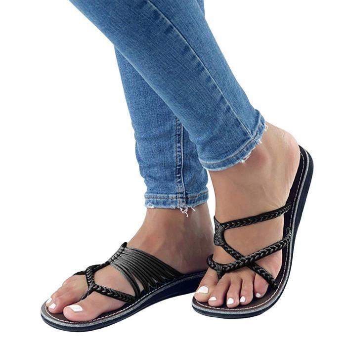 5918b532cf2795 Minetom Été Femme Tressée Sandales Femmes Chaussures De Plage Plats Bohême  Clip Toe Herringbone Flip Flops Mode Casual