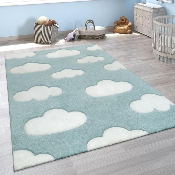 Tapis Chambre Enfant Adorable Couleurs Pastel Motif Nuages Poils Ras En  Bleu Blanc [80x150 cm]