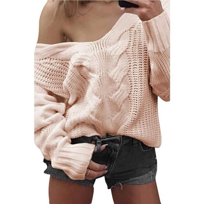 80d4d142cdee Tomwell Femme Automne Hiver Pulls Col V Pull à manches longues Sans  Bretelles Jumper Tricots Tops Sweater