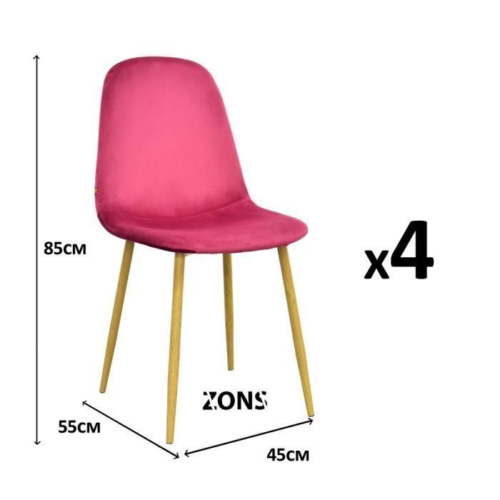 lot de 4 stockholm chaise velours scandinave 45*55*85cm bordeaux