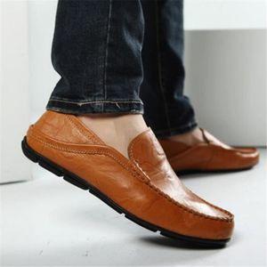 Mocassins Hommes Cuir Printemps Ete Leger Mode Plat Chaussures ZX-XZ078Marron38 jwVHCFhcud