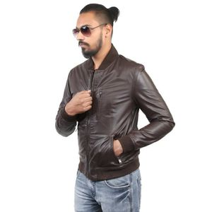 Men's Grey Color Banned Collar Leather Jacket ,premium Quality OUAEV Taille-L