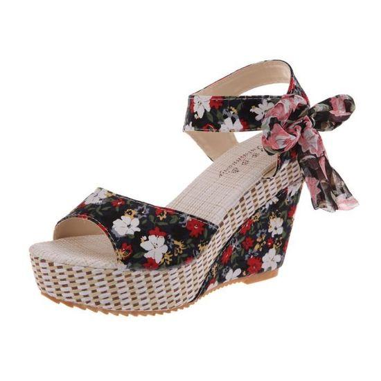 Plateforme épais Noir Bas Plate Wedges à Femmes Peep Chaussures Fleur Sandales Toe Lacets rQdxoCWBe
