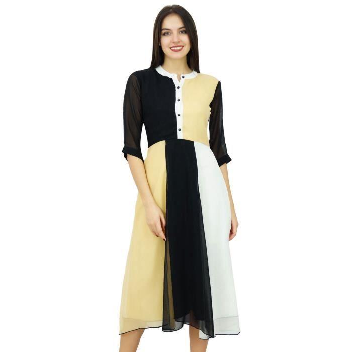 Bimba Femmes Classique Mandarin Collar Robe chasuble Tricolor Midi Chic Robes dété, Multicolore