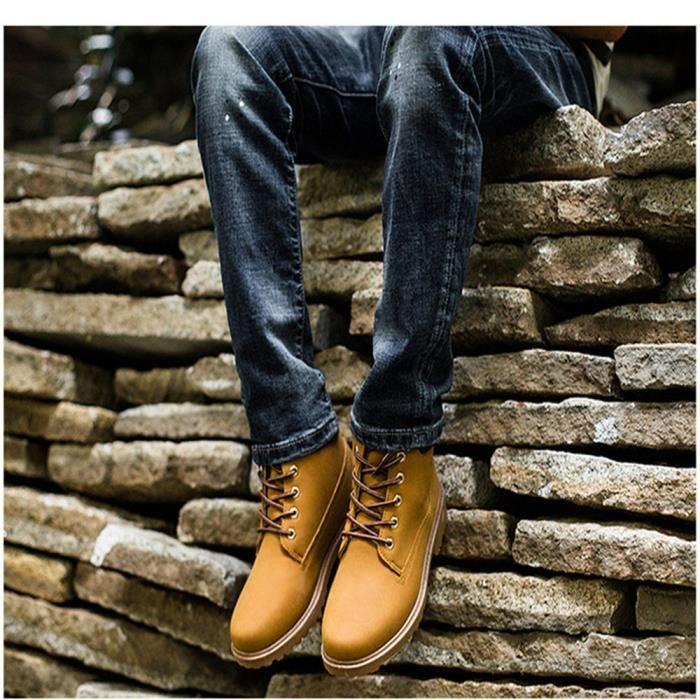 Martin Bottines Homme En Cuir Durable Boots XX-XZ020Jaune42 DWjbj