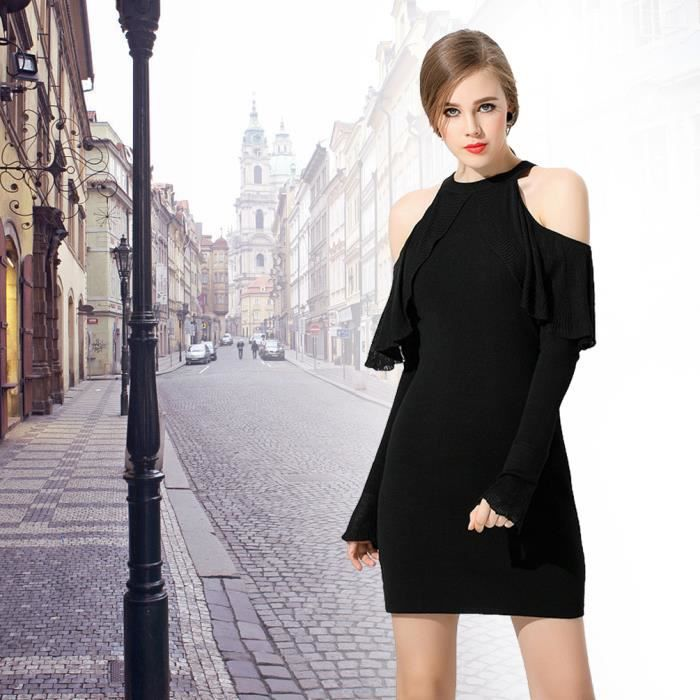 Femmes manches longues ras du cou Longueur moyenne moulante Mini-robe, Noir