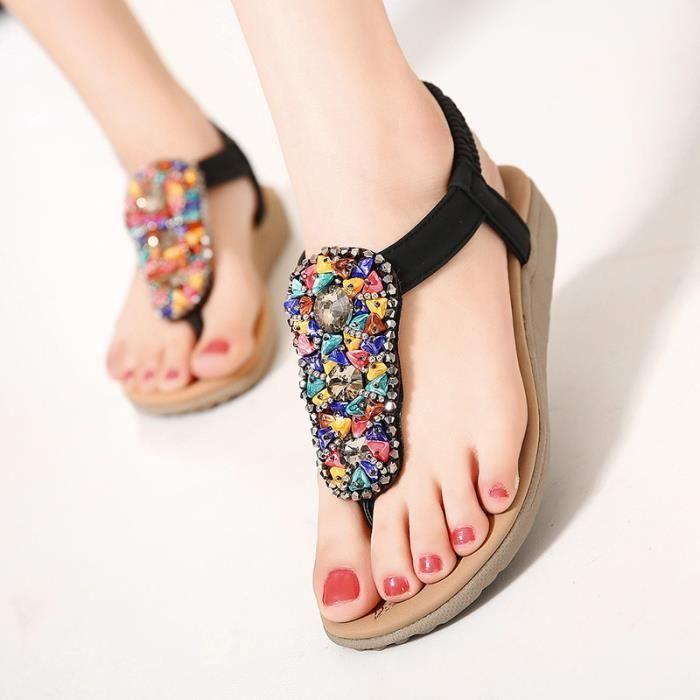 Sandales femme plat mode été nouveau perle romaine Bohème