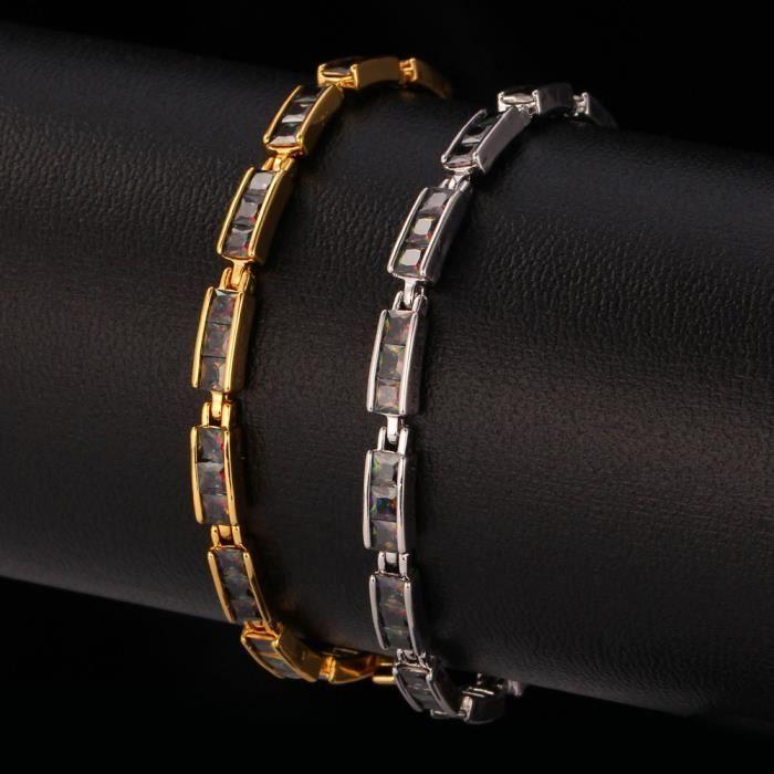 U7 Bracelet Plaqué Platiné Serte de Zirconium CubiqueBijoux Fantaisie pour Femme 2 Choix Disponible