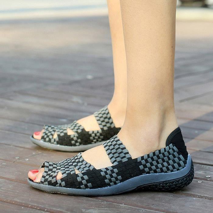 Mode Multi Été Casual Sandales Tressées Chaussures Plates Femmes Toe Couleurs Peep Noir A4wqwUx