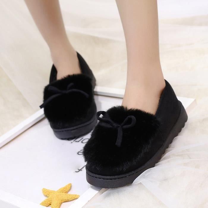 Velours De Neige Noir Mode Bottes Low Plus Dosse Bas Chaussures Féminine Bow Slip TnZTwz