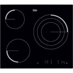 FAURE FEV6334FBA Table de cuisson vitrocéramique-3 zones-5700 W-L 59 x P 52cm-Rev?tement verre-Noir