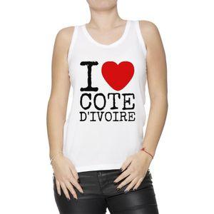Débardeur Débardeur - I Love Cote D Ivoire Femme T-Shirt Bla