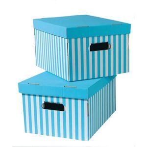 BOITE DE RANGEMENT SHIRT Lot de 2 boîtes rayées turquoise 40x31x21 cm