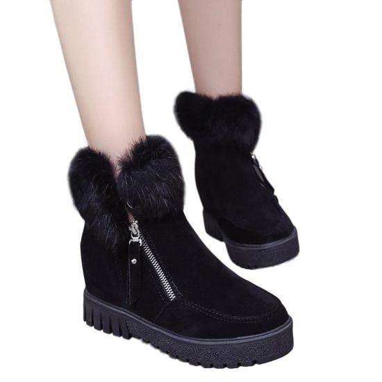 Femmes Femmes Femmes Bottes Zipper Side Bottes de neige plus velours Surélévation Bottes Noir Noir - Achat / Vente botte bf83c5