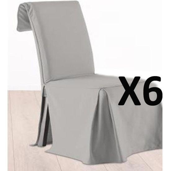 HOUSSE DE CHAISE Lot De 6 Housses Chaise Ajustable Gris 100 Cot
