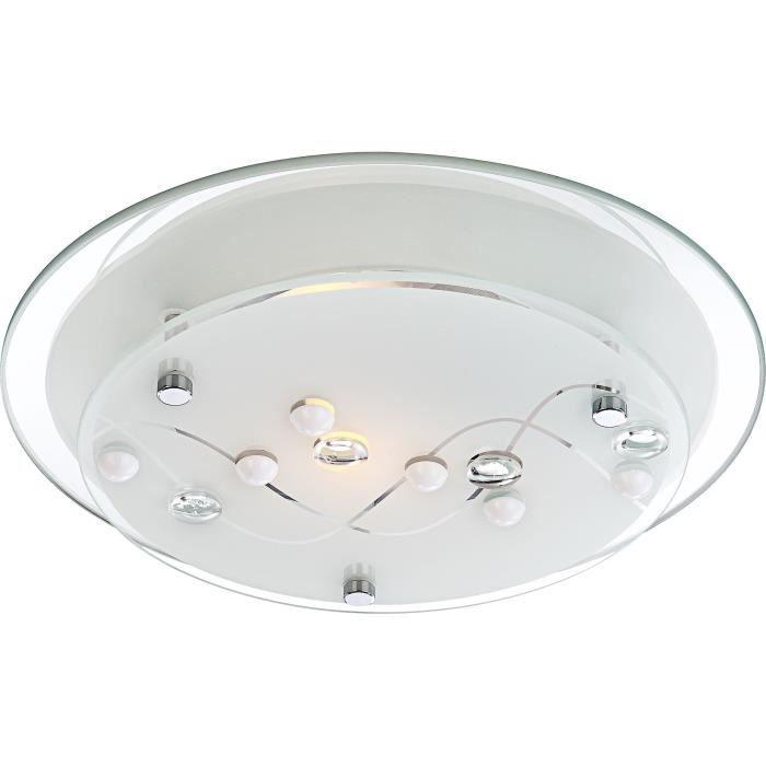 Plafonnier chrome - verre satiné - décor pierres translucide - A:250 - H:85 - Ampoule non inclusePLAFONNIER