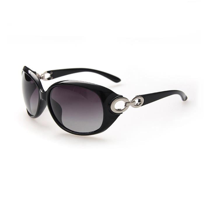 Lunettes de soleil femme polarisées de Moderne Armature en Fashion sunglasses marque de Luxe Noir