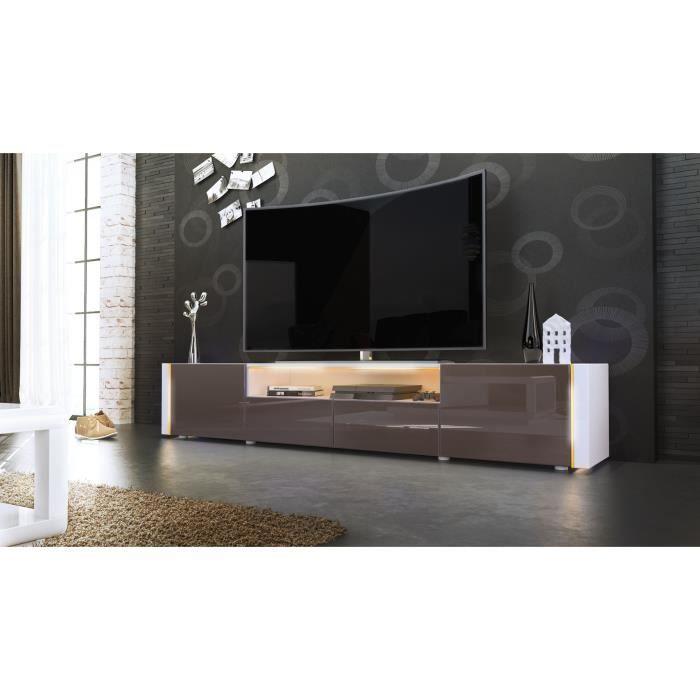 Meuble tv blanc et chocolat sans led achat vente - Cdiscount meubles tv ...