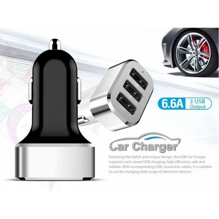 PRISE ALLUME-CIGARE CHARGEUR ALLUME CIGARE TRIPLE PORT USB MAX 6,6A UL