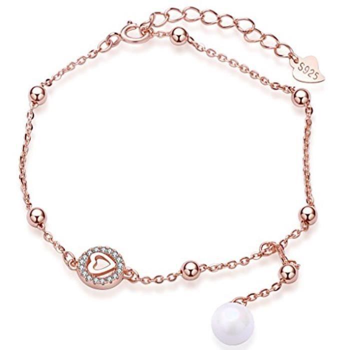 Bracelet Le Cercle Orné Zircon Et Le Cœur Mini En Argent 925 Et Perle Couleur DOr Rose Longueur Est Réglable Pour Femme Fille