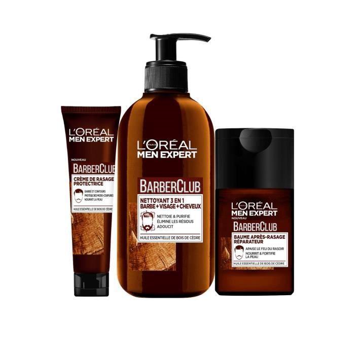 L ORÉAL PARIS Men Expert Barber Club - Lot Gel nettoyant 3-en-1 200 ml +  Crème de rasage 150 ml + Baume après-rasage 125 ml fbca2d0b405