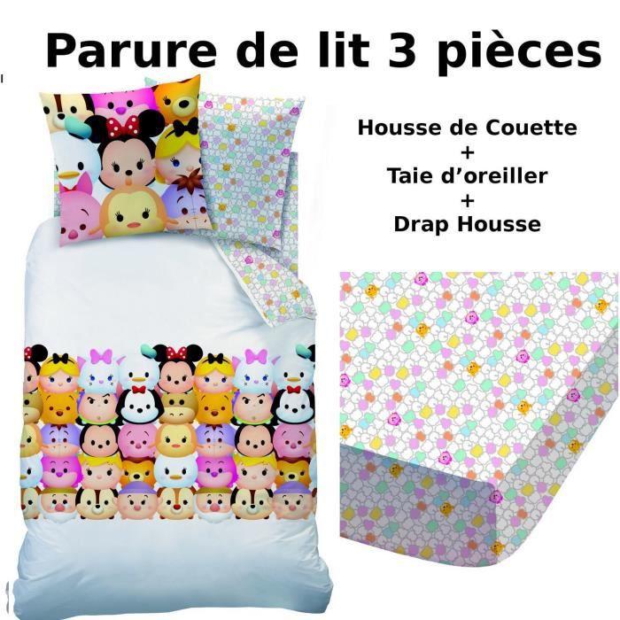 parure de lit drap housse PARURE DE LIT 3 PIECES TSUM TSUM HOUSSE DE COUETTE+ DRAP HOUSSE +  parure de lit drap housse