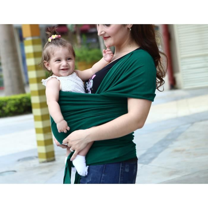 78eaeb11058 Écharpe de portage porter bébé porte kangourou baby carrier Sac à dos Porte  Bébé coton+lycra élastique tabouret bébé-Vert froncé