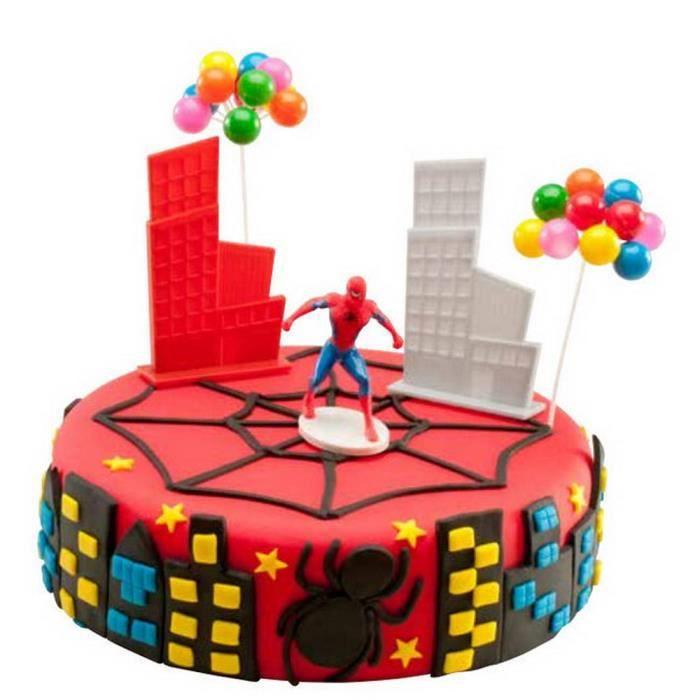 Kit de decoration gateau anniversaire spiderman achat - Decoration spiderman pour anniversaire ...