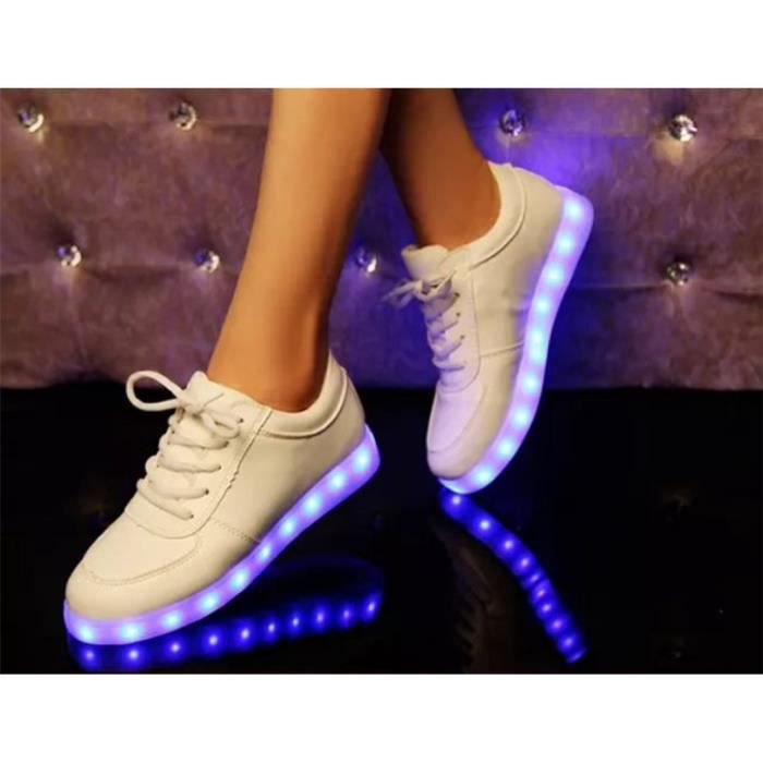 Chaussure Led Blanc USB Charge Chaussure Lumineuse Homme Femme Chaussure Lumière Basket Clignotants Pas Cher